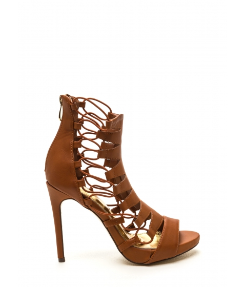 Incaltaminte Femei CheapChic Feeling Edgy Zigzag Faux Leather Heels Cognac