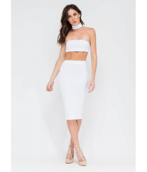 Imbracaminte Femei CheapChic Smooth Things Over Midi Pencil Skirt White