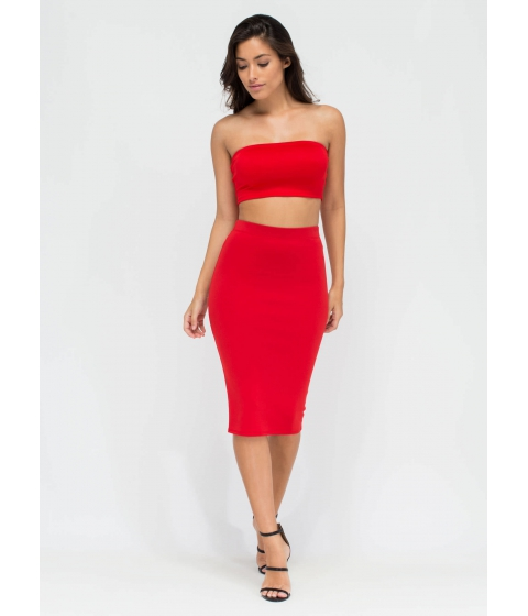 Imbracaminte Femei CheapChic Smooth Things Over Midi Pencil Skirt Red
