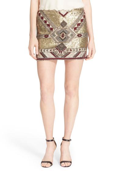 Imbracaminte Femei Alice Olivia Elana Embellished Miniskirt GOLD MULTI