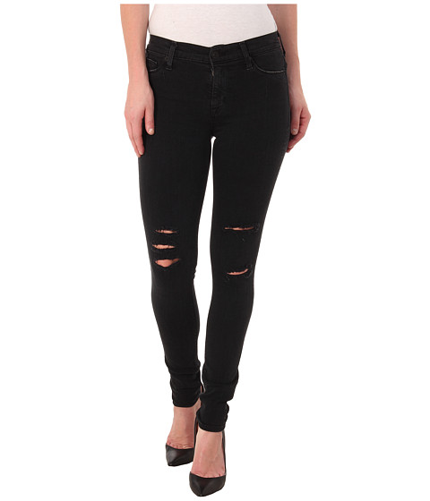 Imbracaminte Femei Hudson Nico Mid Rise Super Skinny Jeans in Commune Washed Black Commune Washed Black