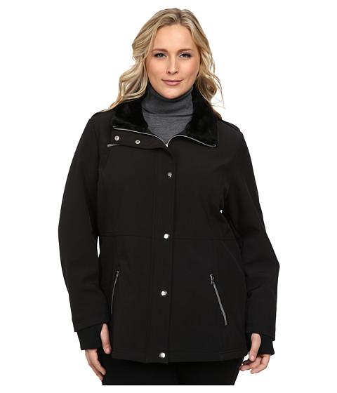 Imbracaminte Femei Jessica Simpson Plus Size Zip Front Soft Shell with Faux Fur Black