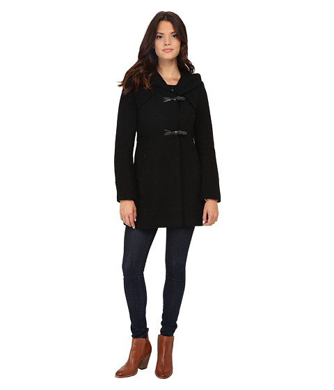 Imbracaminte Femei Jessica Simpson Braided Wool Duffle Coat with Hood Black