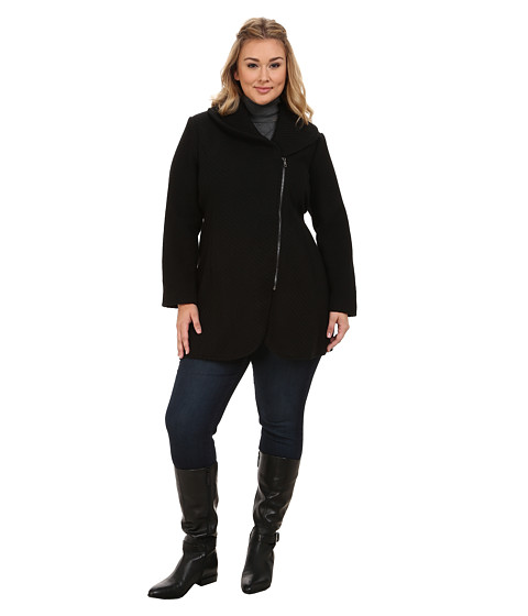Imbracaminte Femei Jessica Simpson Plus Size Asymmetrical Braided Wool Coat with Shawl Collar Black