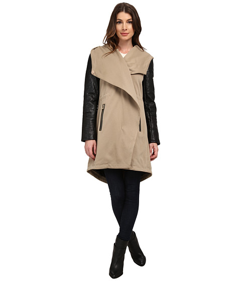 Imbracaminte Femei Vince Camuto Parka with PU Sleeves J8171 Mushroom