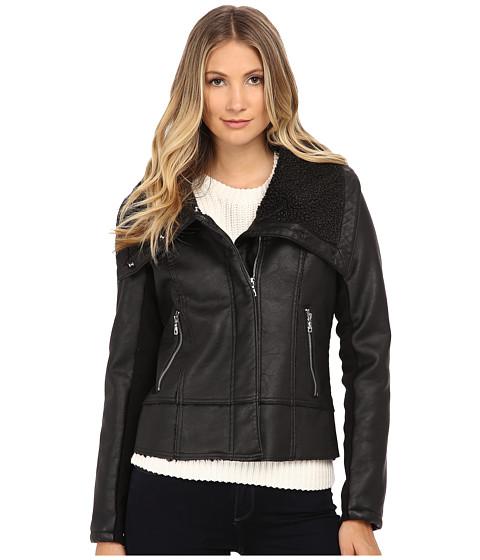 Imbracaminte Femei Sam Edelman PU w Oversize Sherpa Collar Moto Jacket Black
