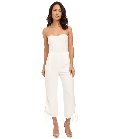 Imbracaminte Femei Brigitte Bailey Pesaro Strapless Cropped Jumpsuit w Lace-Up Vents Off-White
