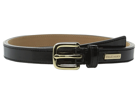 Accesorii Femei Cole Haan 25mm Patent Belt with Cole Haan Logo Plaque Under Tab Black