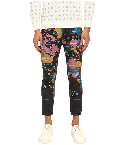 Imbracaminte Barbati LOVE Moschino World Print Cropped Slim Fit Denim Multi
