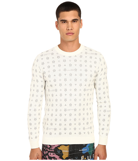 Imbracaminte Barbati LOVE Moschino Logo Print Knit Sweater Off-WhiteGrey