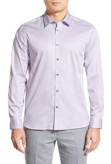 Imbracaminte Barbati Ted Baker London Modern Slim Fit Plancuf Stretch Long Sleeve Sport Shirt LILAC