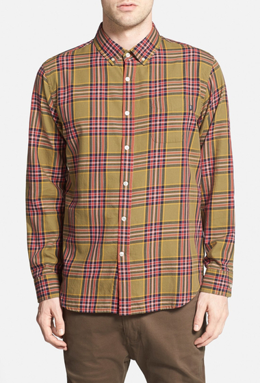 Imbracaminte Barbati Obey Bowen Trim Fit Woven Plaid Shirt ARMY