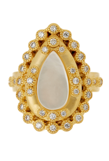 Bijuterii Femei Freida Rothman 14K Gold Plated Sterling Silver CZ Mother of Pearl Framed Ring - Size 5 GOLD