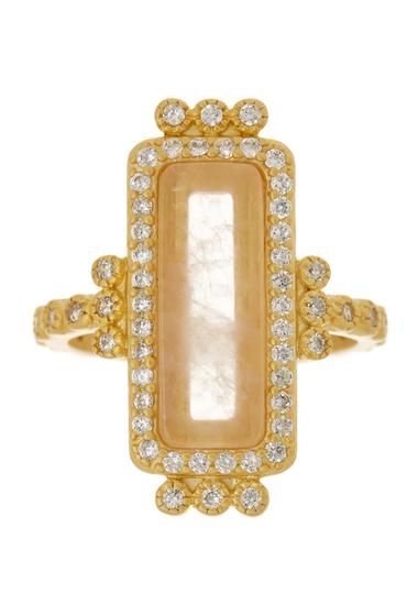 Bijuterii Femei Freida Rothman 14K Gold Plated Sterling Silver CZ Rose Quartz Bar Ring - Size 5 GOLD