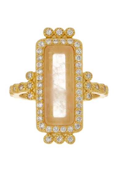 Bijuterii Femei Freida Rothman 14K Gold Plated Sterling Silver CZ Rose Quartz Bar Ring - Size 9 GOLD