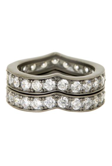 Bijuterii Femei Freida Rothman Pave CZ Heart Stack Ring Set - Size 7 BLACK