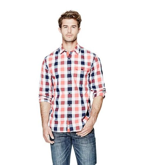 Imbracaminte Barbati GUESS Brimmer Plaid Slim-Fit Shirt vintage light wash