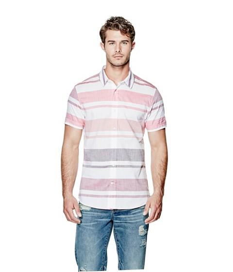 Imbracaminte Barbati GUESS Carlsen Striped Shirt vintage light wash