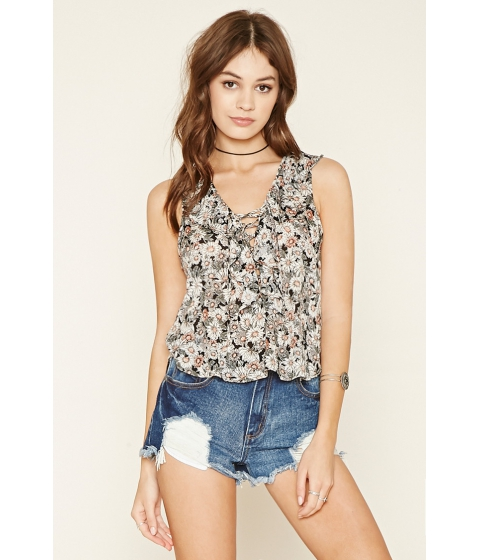 Imbracaminte Femei Forever21 Ruffled Lace-Up Floral Top Blackcream