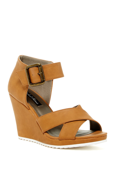 Incaltaminte Femei Michael Antonio Gratia Wedge Sandal Whiskey