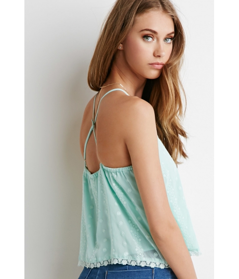 Imbracaminte Femei Forever21 Embroidered Crepe Crisscross Cami Mint