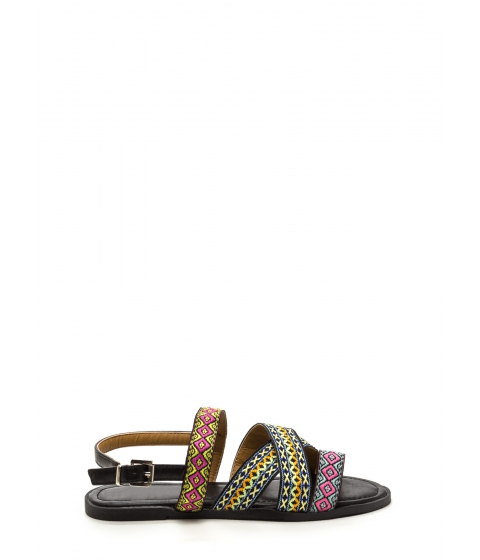 Incaltaminte Femei CheapChic Stake Your Claim Woven Sandals Black