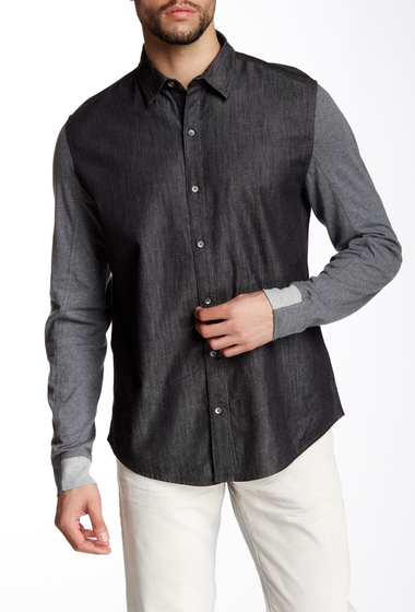 Imbracaminte Barbati DKNY Jeans Long Knit Sleeve Chambray Regular Fit Shirt BLACK