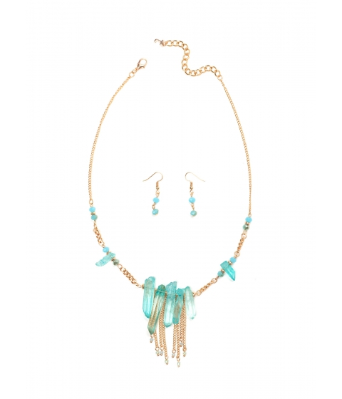 Accesorii Femei CheapChic Crystal Clear Mineral Necklace Set Jadegold