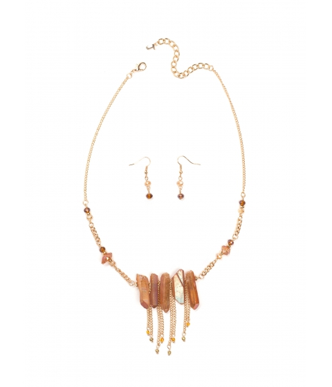 Accesorii Femei CheapChic Crystal Clear Mineral Necklace Set Topazgold