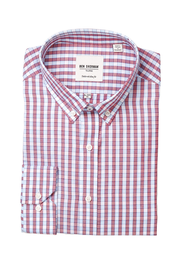 Imbracaminte Barbati Ben Sherman Kings Long Sleeve Tailored Slim Fit Check Dress Shirt RED