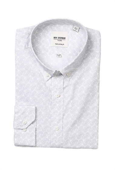Imbracaminte Barbati Ben Sherman Kings Long Sleeve Tailored Slim Fit Paisley Dress Shirt GREY