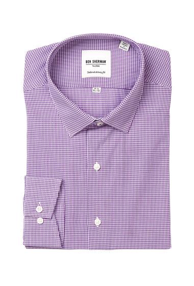 Imbracaminte Barbati Ben Sherman Long Sleeve Tailored Skinny Fit Micro Check Dress Shirt PURPLE