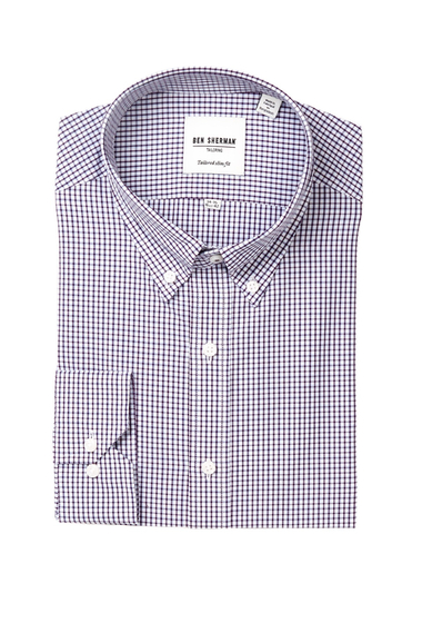 Imbracaminte Barbati Ben Sherman Long Sleeve Tailored Slim Fit Check Dress Shirt WINE