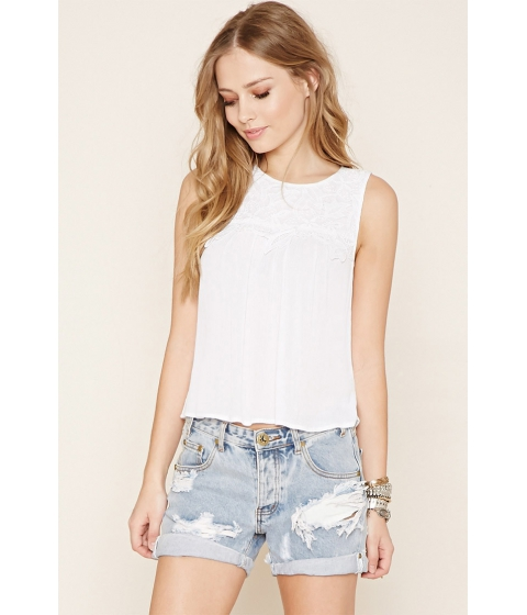 Imbracaminte Femei Forever21 Floral-Embroidered Top Cream