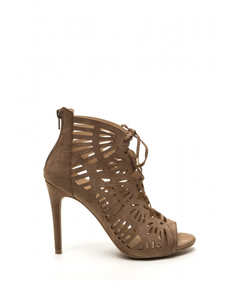 Incaltaminte Femei CheapChic Take A Peek Cut-out Lace-up Heels Taupe