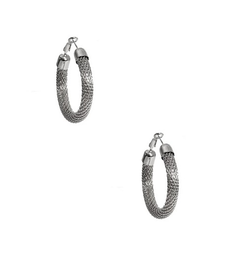 Bijuterii Femei GUESS Silver-Tone Mesh Hoop Earrings silver