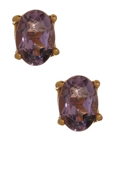 Bijuterii Femei Savvy Cie 14K Gold Plated Sterling Silver Amethyst Stud Earrings yellow-purple