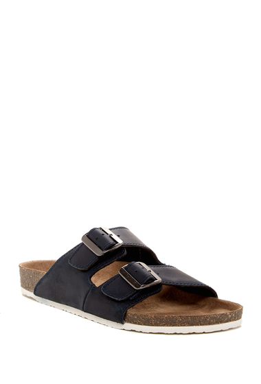 Incaltaminte Barbati Crevo 2-Strap Leather Slide Sandal NAVY