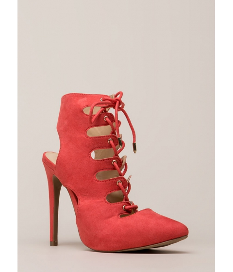 Incaltaminte Femei CheapChic All In Order Lace-up Faux Suede Heels Dkcoral