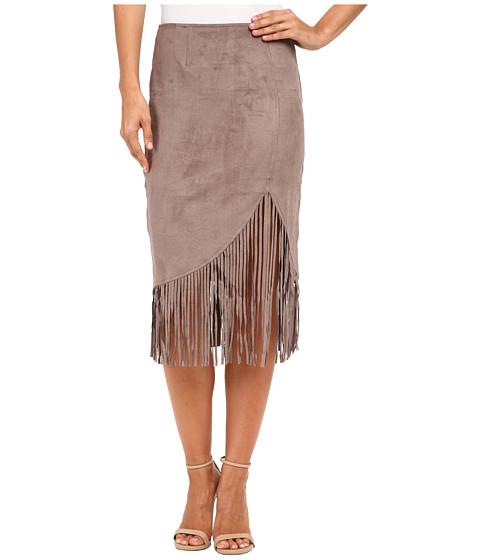 Imbracaminte Femei Brigitte Bailey Adaline Micro Suede Fringe Midi Skirt Taupe