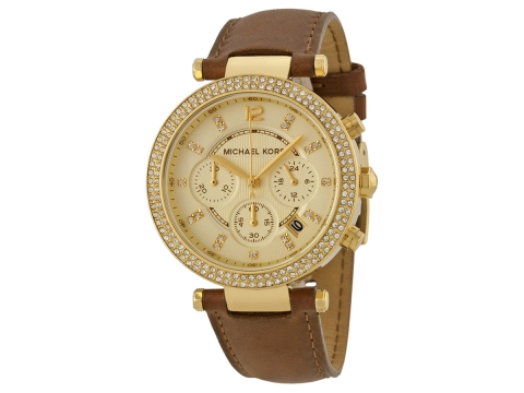 Ceasuri Femei Michael Kors Chronograph Gold Dial Brown Leather Ladies Watch Gold