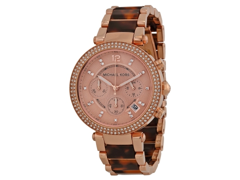 Ceasuri Femei Michael Kors Parker Chronograph Rose Dial Ladies Watch Rose