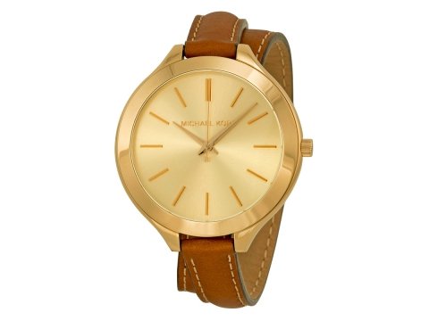 Ceasuri Femei Michael Kors Runway Champagne Dial Tan Leather Ladies Watch Champange