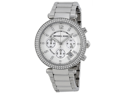 Ceasuri Femei Michael Kors Parker Silver Dial Stainless Steel Chronograph Ladies Watch Silver