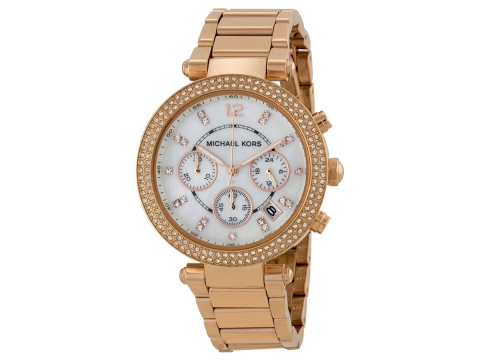 Ceasuri Femei Michael Kors Parker Chronograph Rose Gold-tone Ladies Watch Mother of Pearl