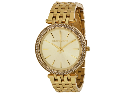 Ceasuri Femei Michael Kors Darci Glitz Gold Dial Pave Bezel Ladies Watch Gold