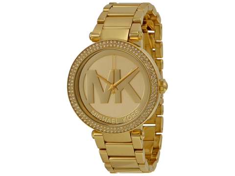 Ceasuri Femei Michael Kors Parker Champagne Dial Gold-tone Watch Light Champagne with MK logo