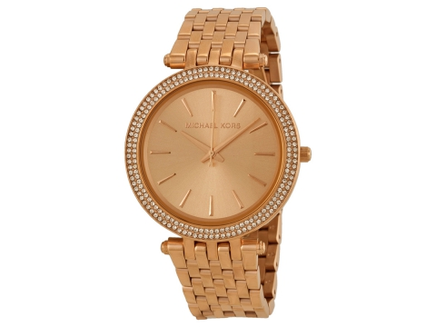 Ceasuri Femei Michael Kors Darci Rose Gold Dial Pave Bezel Ladies Watch Rose Gold