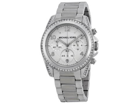 Ceasuri Femei Michael Kors Chronograph White Crystal Ladies Watch Silver