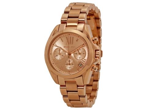 Ceasuri Femei Michael Kors Bradshaw Chronograph Rose Dial Rose Gold-tone Ladies Watch Rose